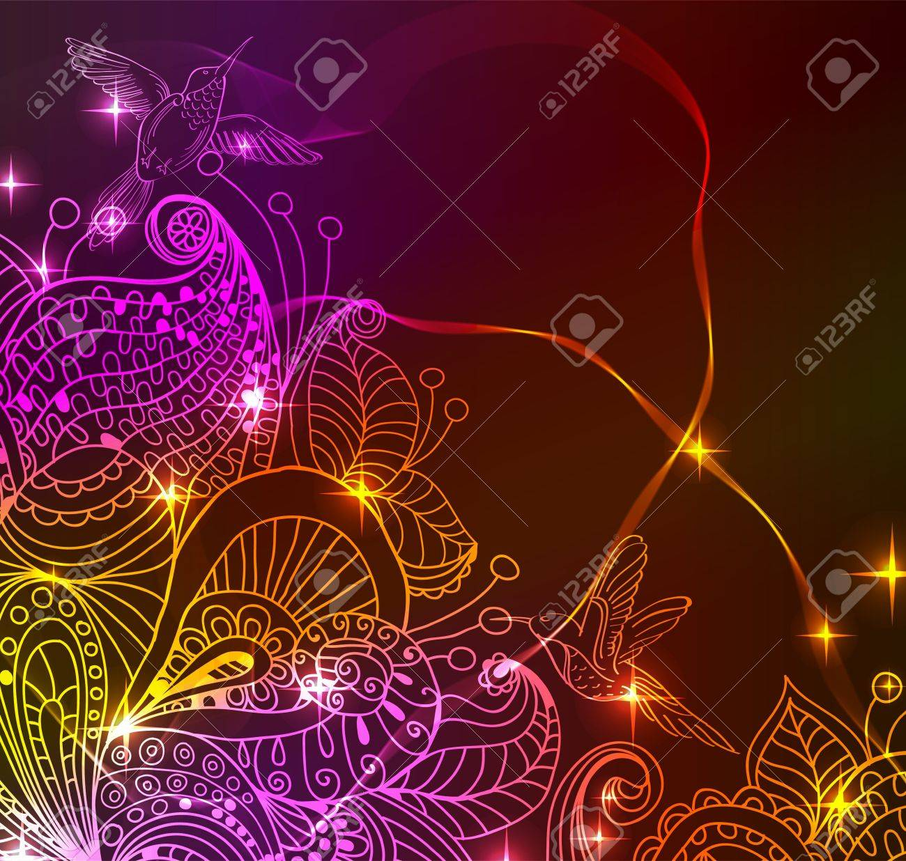 Doodle bright color floral background with birds, illustration for your design Stock Vector - 15774989