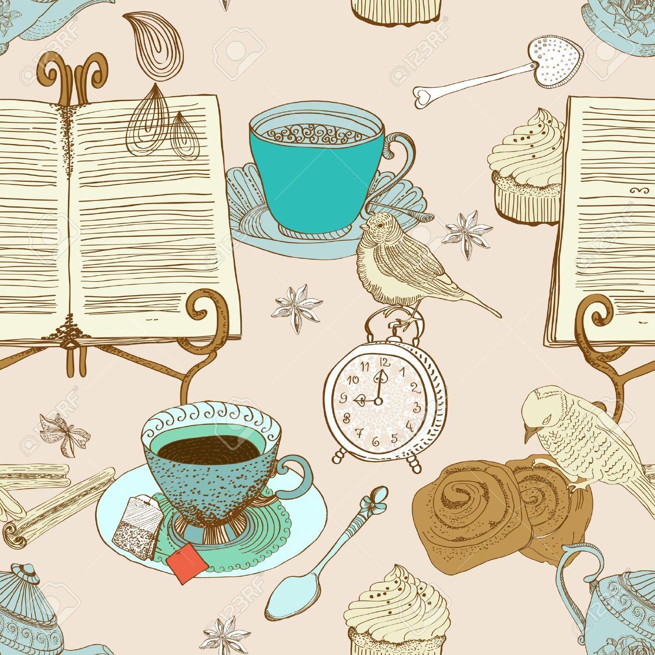 vintage morning tea background  seamless pattern for design, illustration Stock Vector - 15775003
