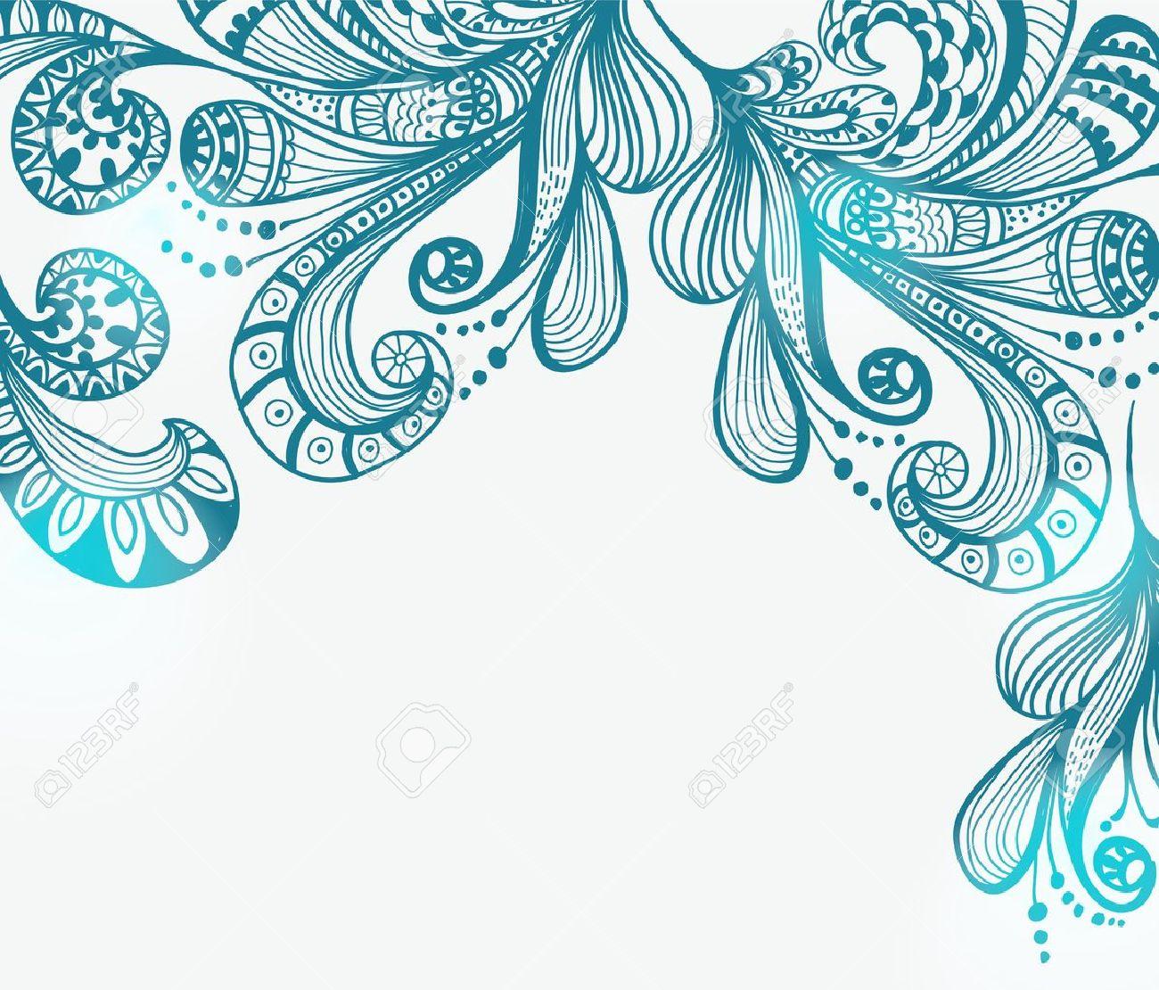 Romantic Blue Floral Background Illustration For Valentine Design