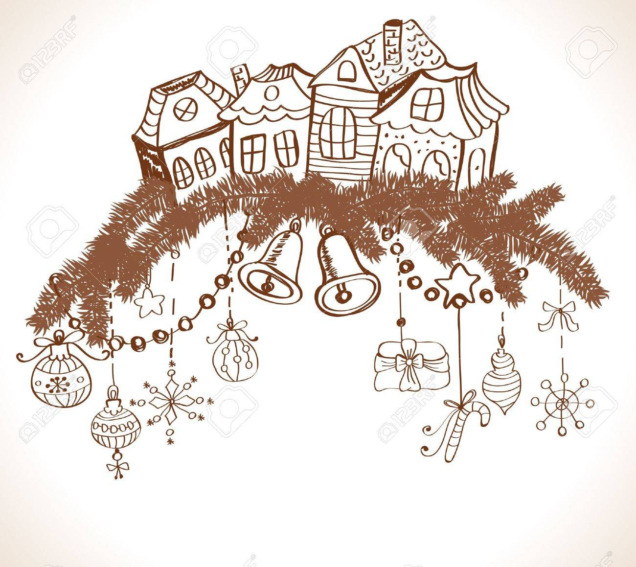 christmas card for xmas design with fur tree, houses and decorations, illustration Stock Vector - 16083286