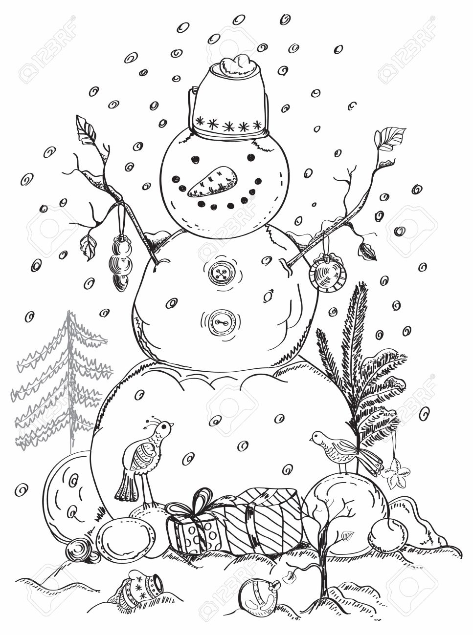 Christmas Card For Xmas Design With Balls Bird Gift And Hand Drawn Snowman Stock