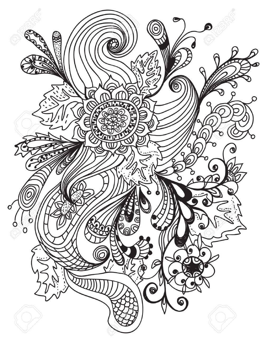 Romantic hand drawn floral ornament, illustration design Stock Vector - 16307253