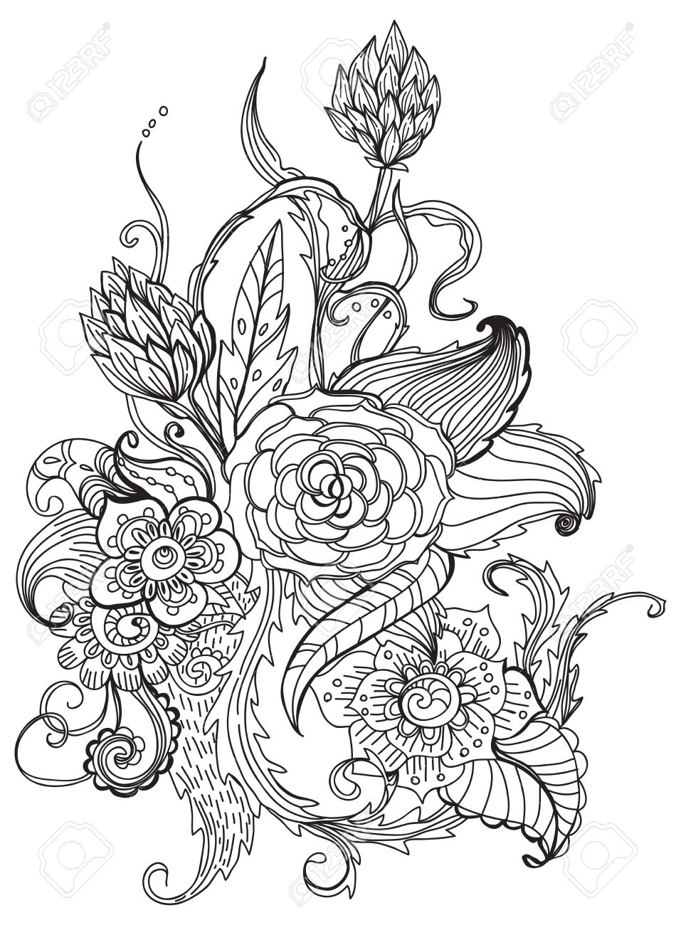 Romantic black and white hand drawn floral ornament for holiday design Stock Vector - 16407119