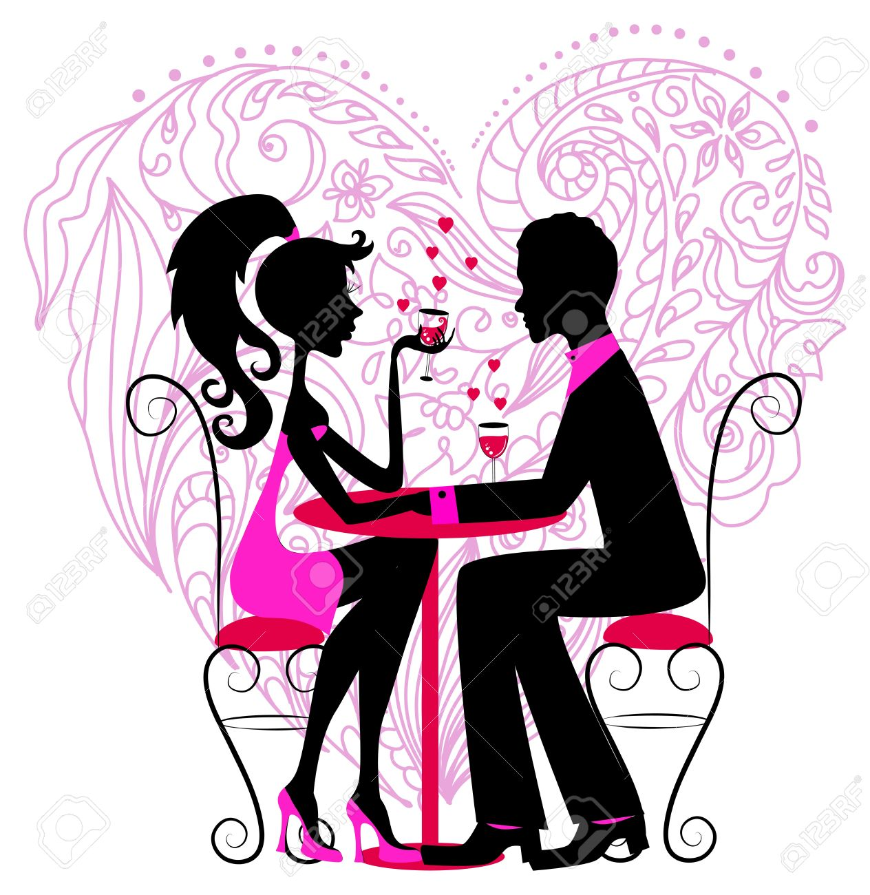 バレンタインのデザインのための花の中心にロマンチックなカップルの