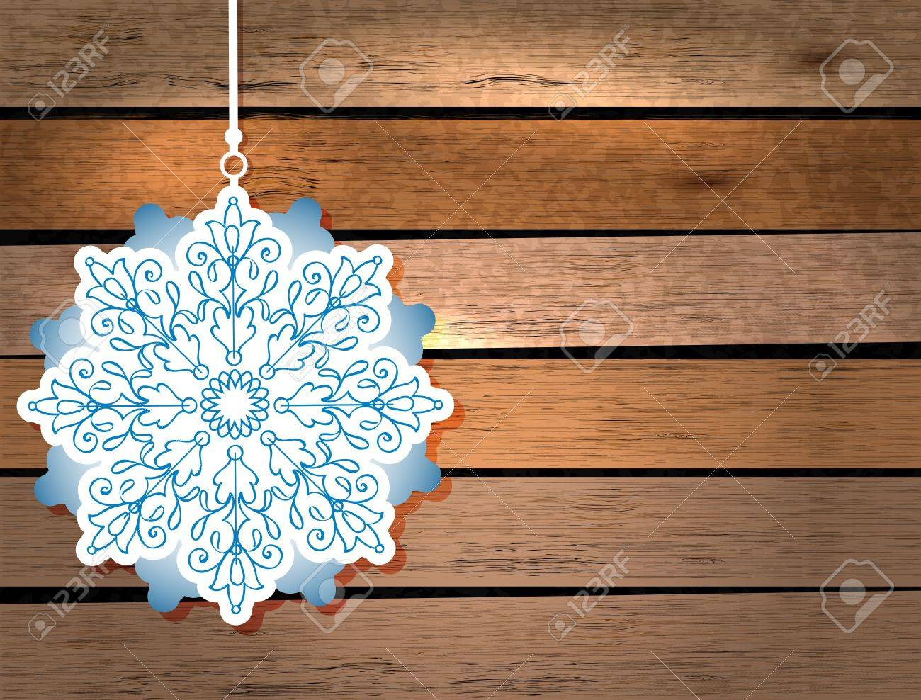 New Year card with snowflake in paper cut style over wood background Stock Vector - 16726565