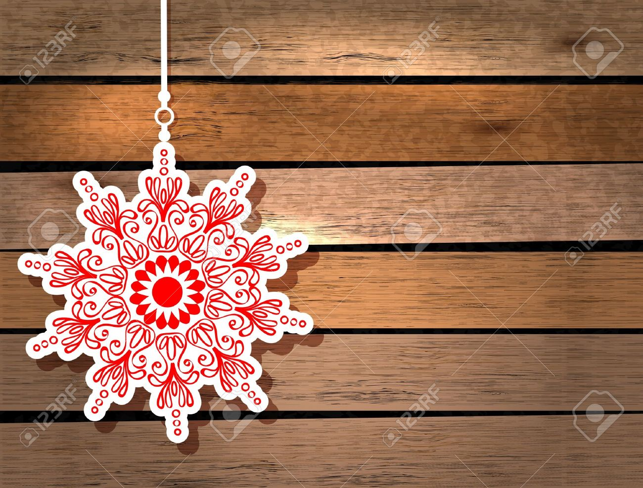New Year card with snowflake over wood background Stock Vector - 16726562
