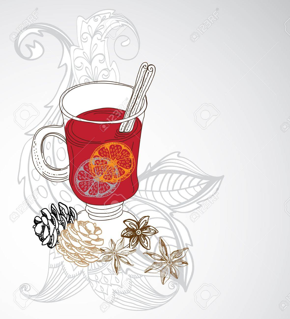 mulled warm wine background, illustration for design with floral elements Stock Vector - 16899251