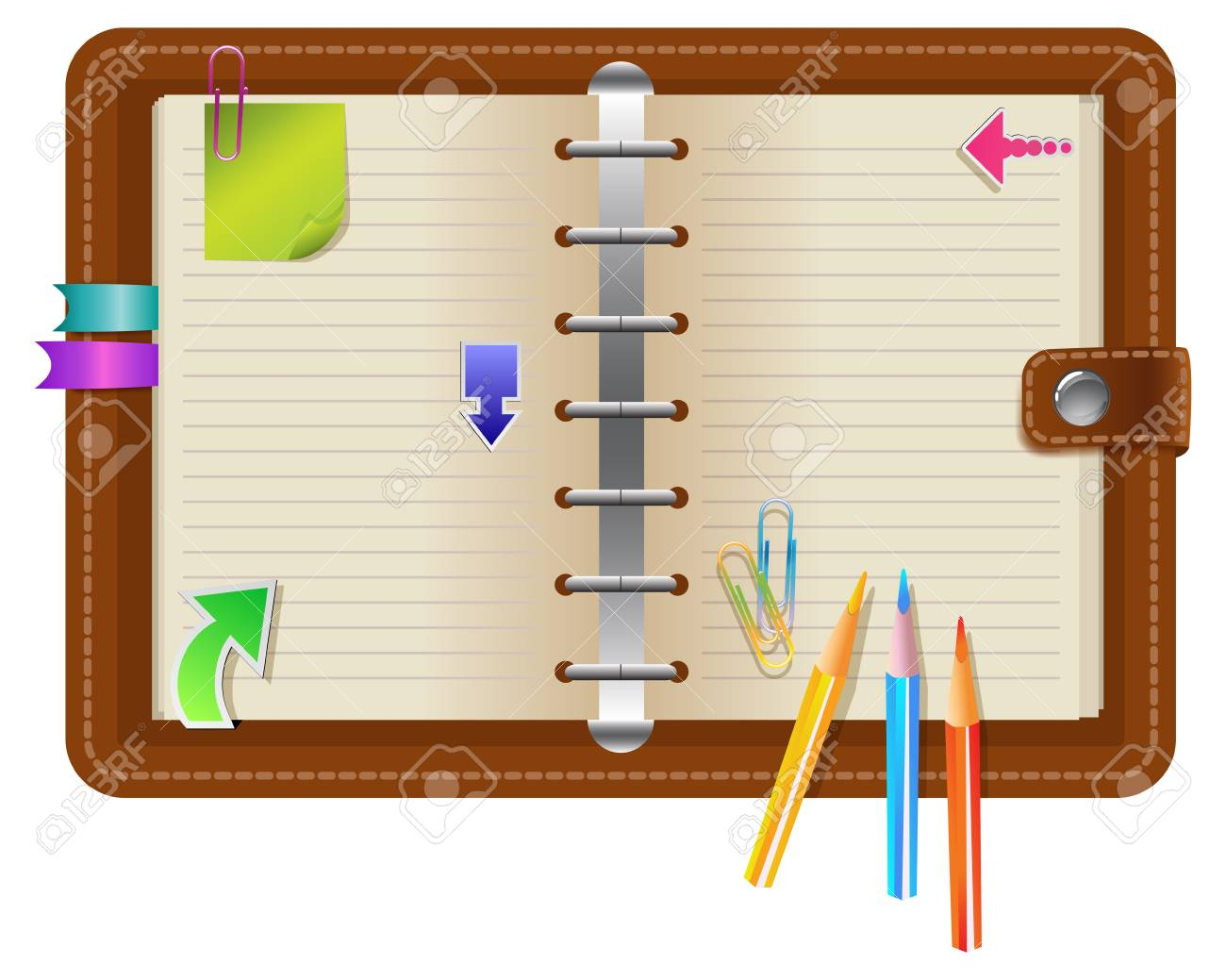 Personal organizer with different elements Stock Vector - 17100398