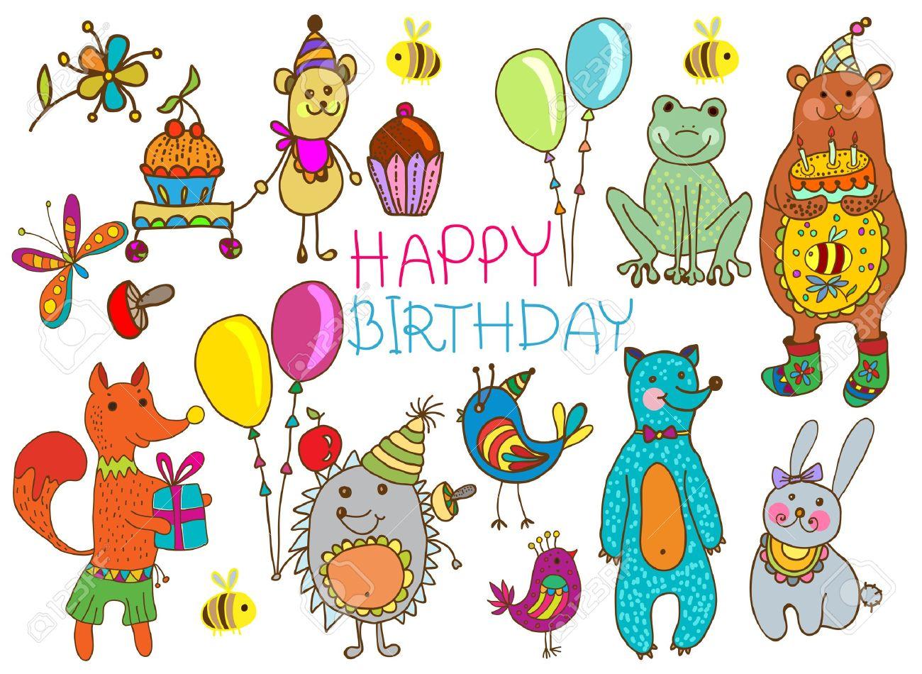 Happy birthday card funny cartoon set with mouse fox bear happy birthday card funny cartoon set with mouse fox bear wolf bookmarktalkfo Images