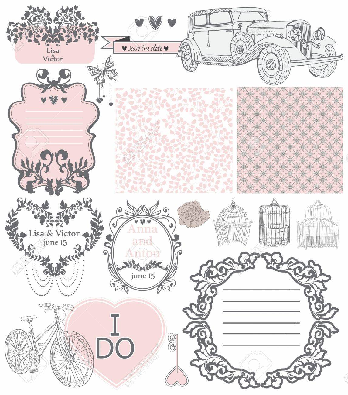 Wedding invitation collection of vintage elements - may be used for design, scrapbook or Valentine design Stock Vector - 17530565