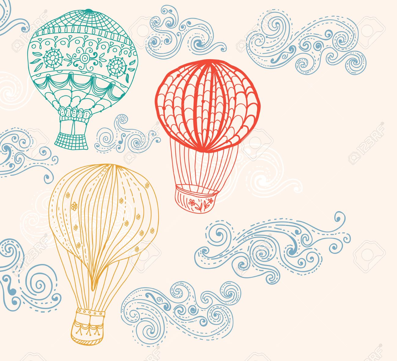 hot Air Balloon in sky, hand drawn Background for Design Stock Vector - 18423112