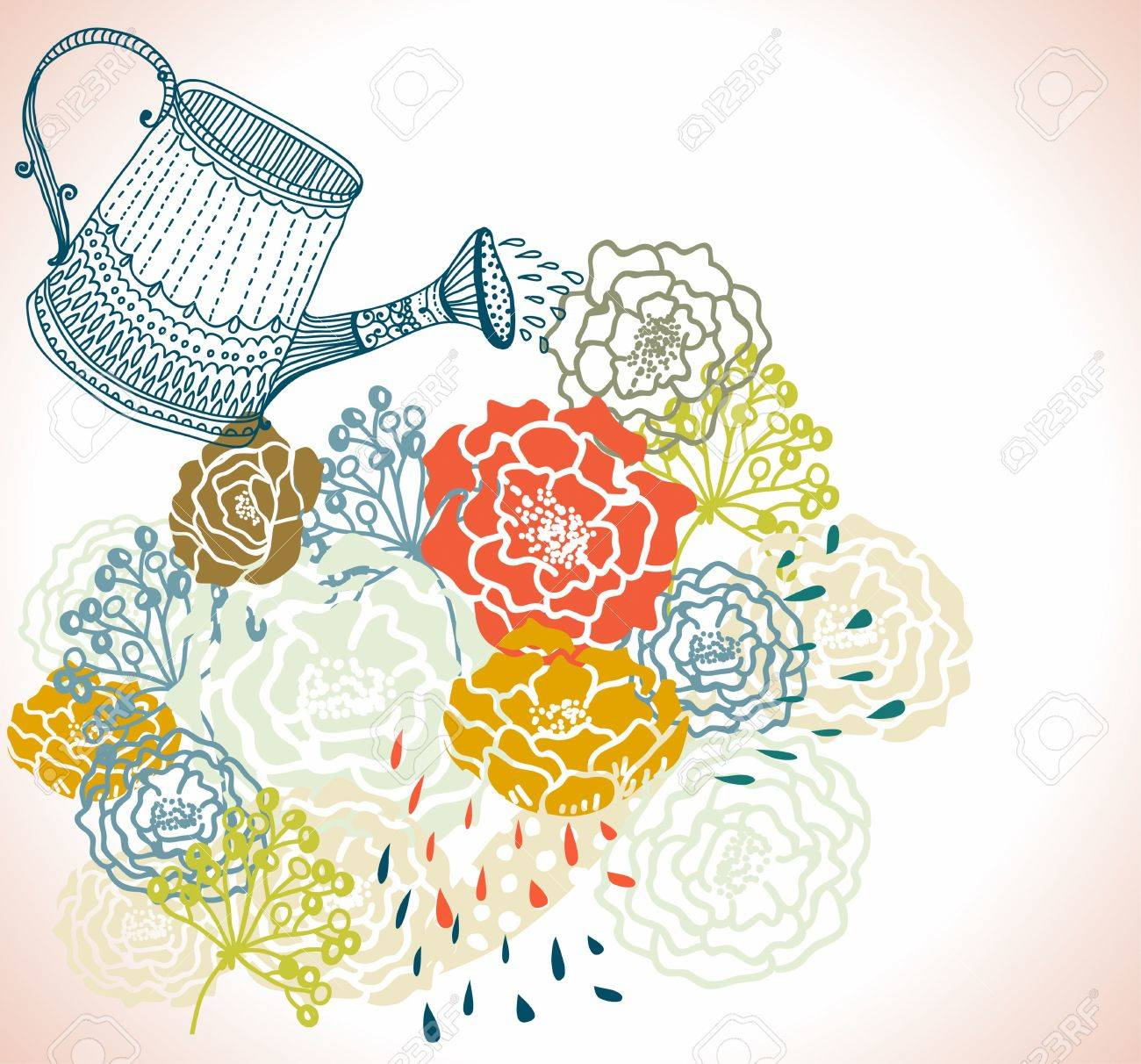 Gardening vector background with watering can and growing sprout ...