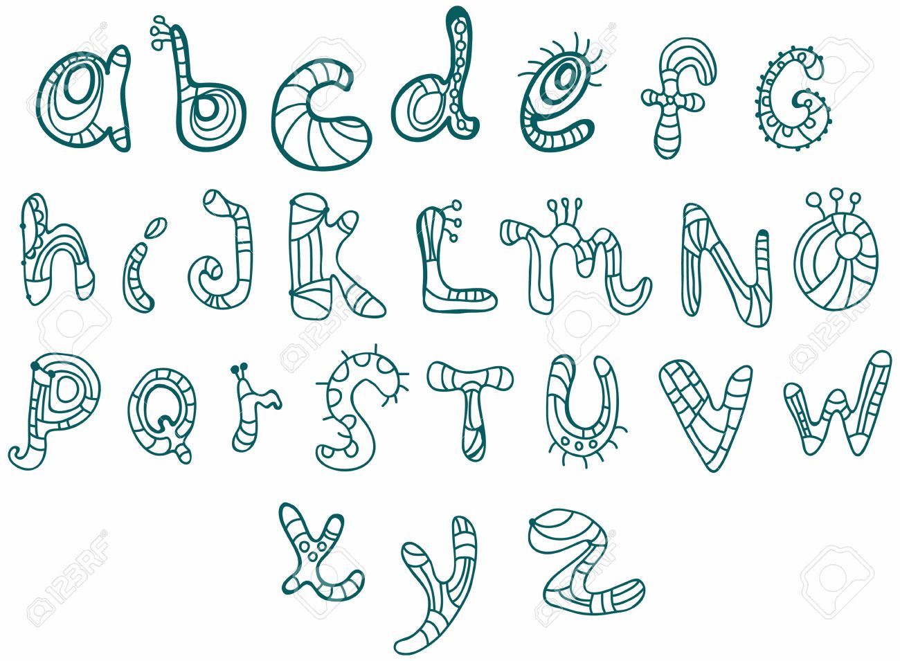 Joyful Cartoon font - from A to Z, hand drawn letter, funny Alphabet