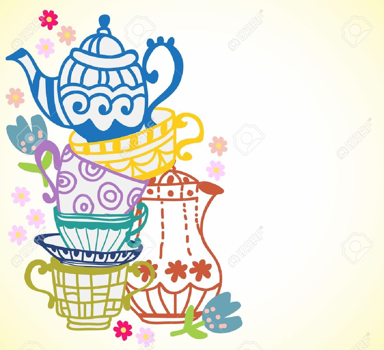 Elegant tea party invitation template with teacups cartoon vector - Tea Cup Background With Teapot Illustration For Design Stock Vector 18545928