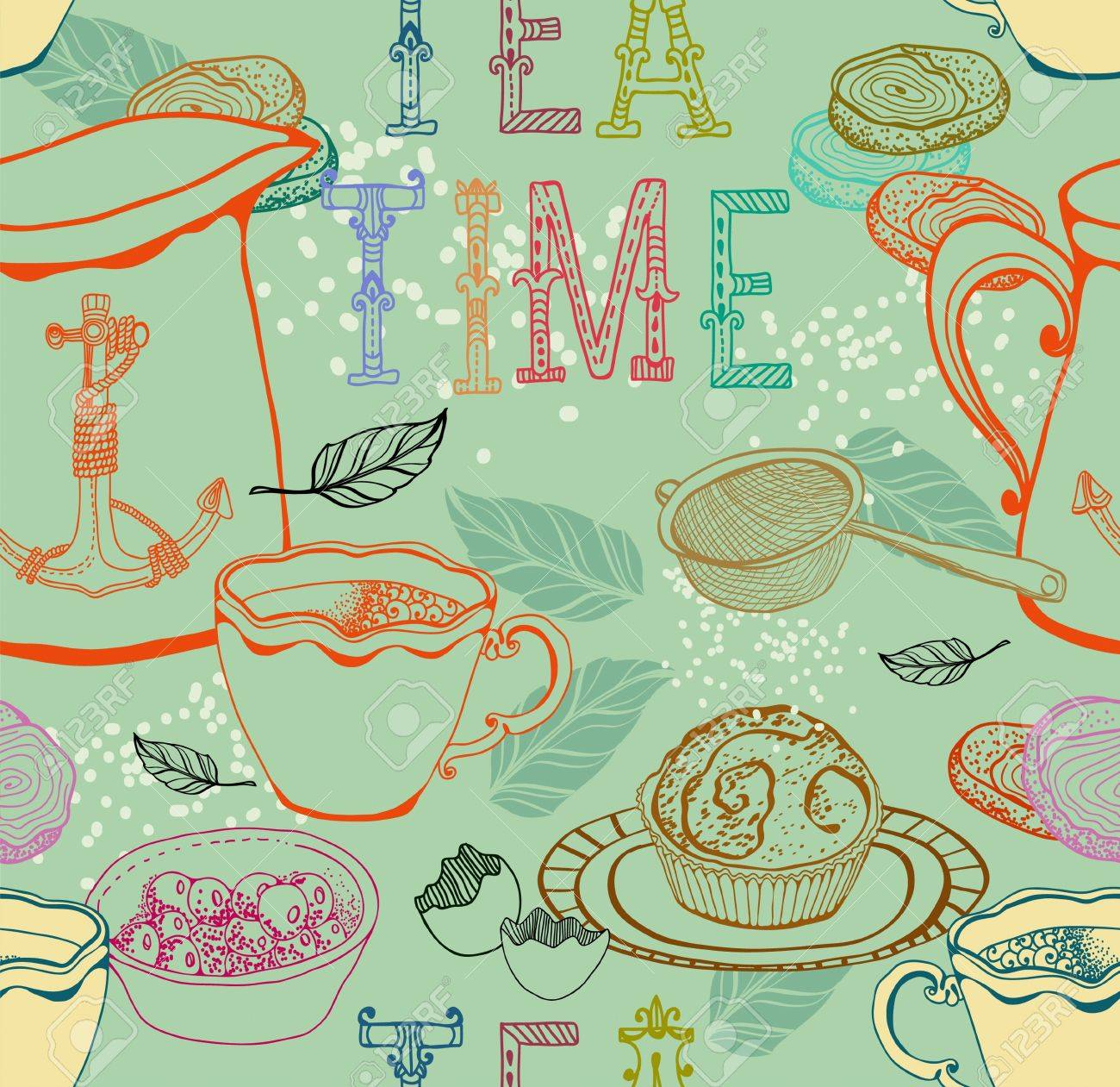 Vintage tea background  seamless pattern for design Stock Vector - 18718731