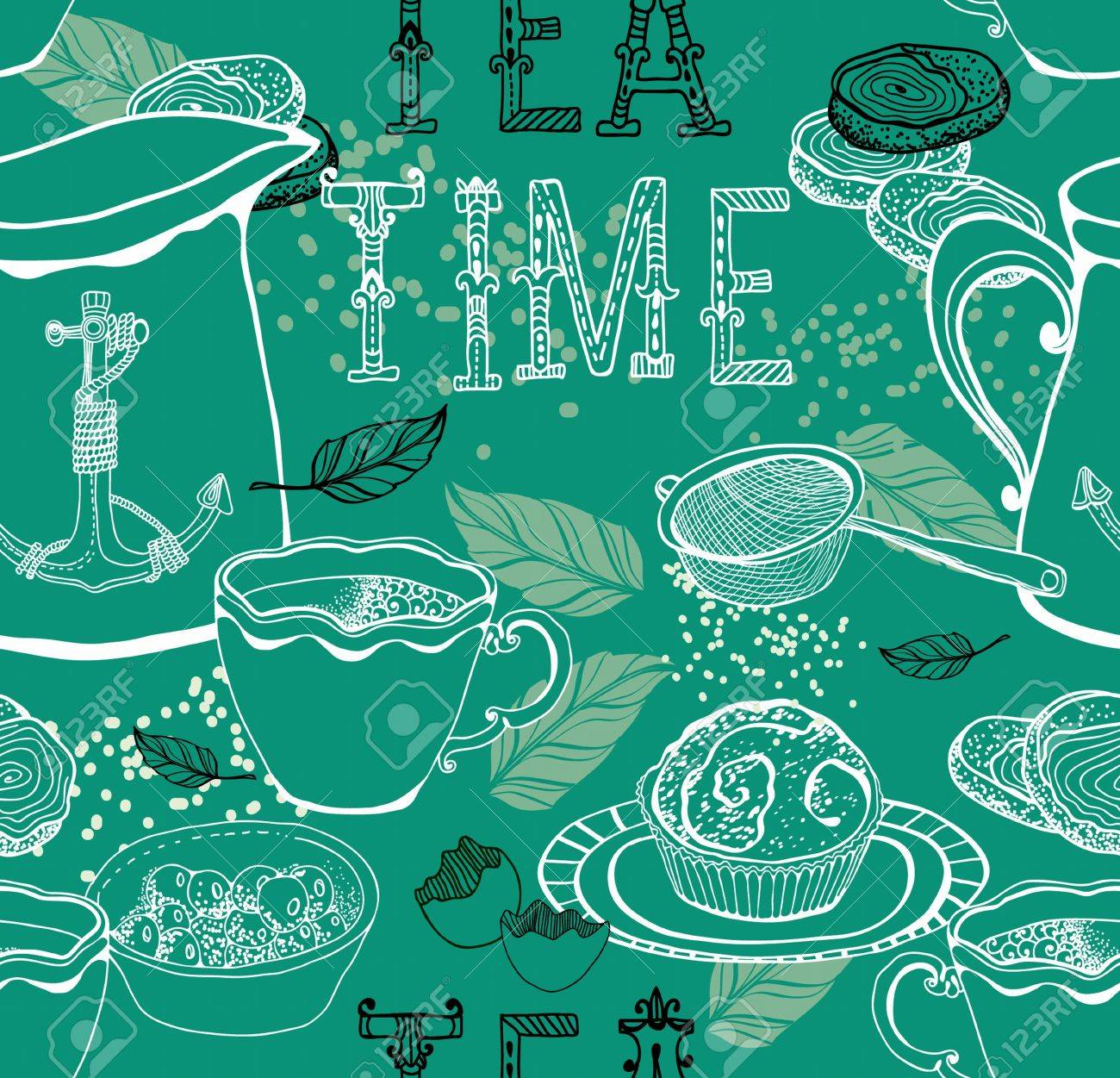 Vintage tea background  seamless pattern for design Stock Vector - 18718733