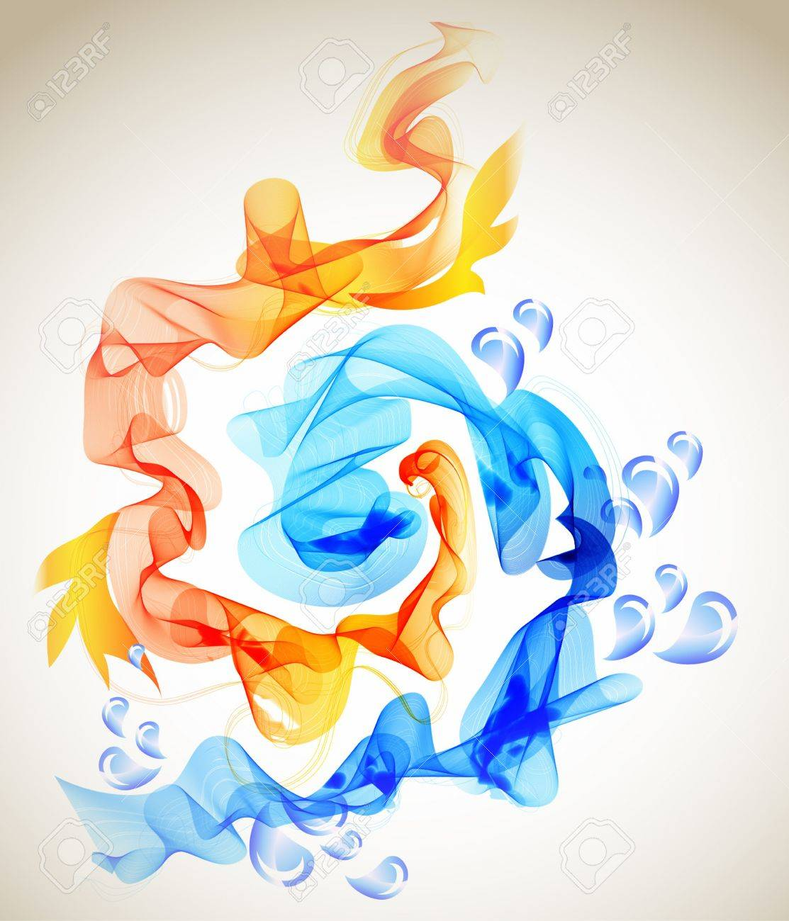 Abstract Background Blue And Red Ice And Fire Illustration