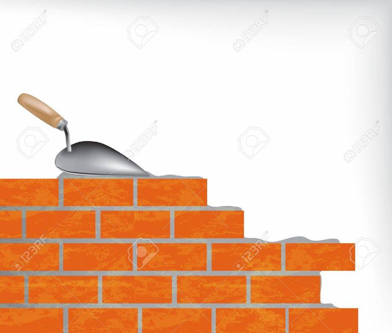 brick wall and trowel illustration royalty free cliparts vetores e