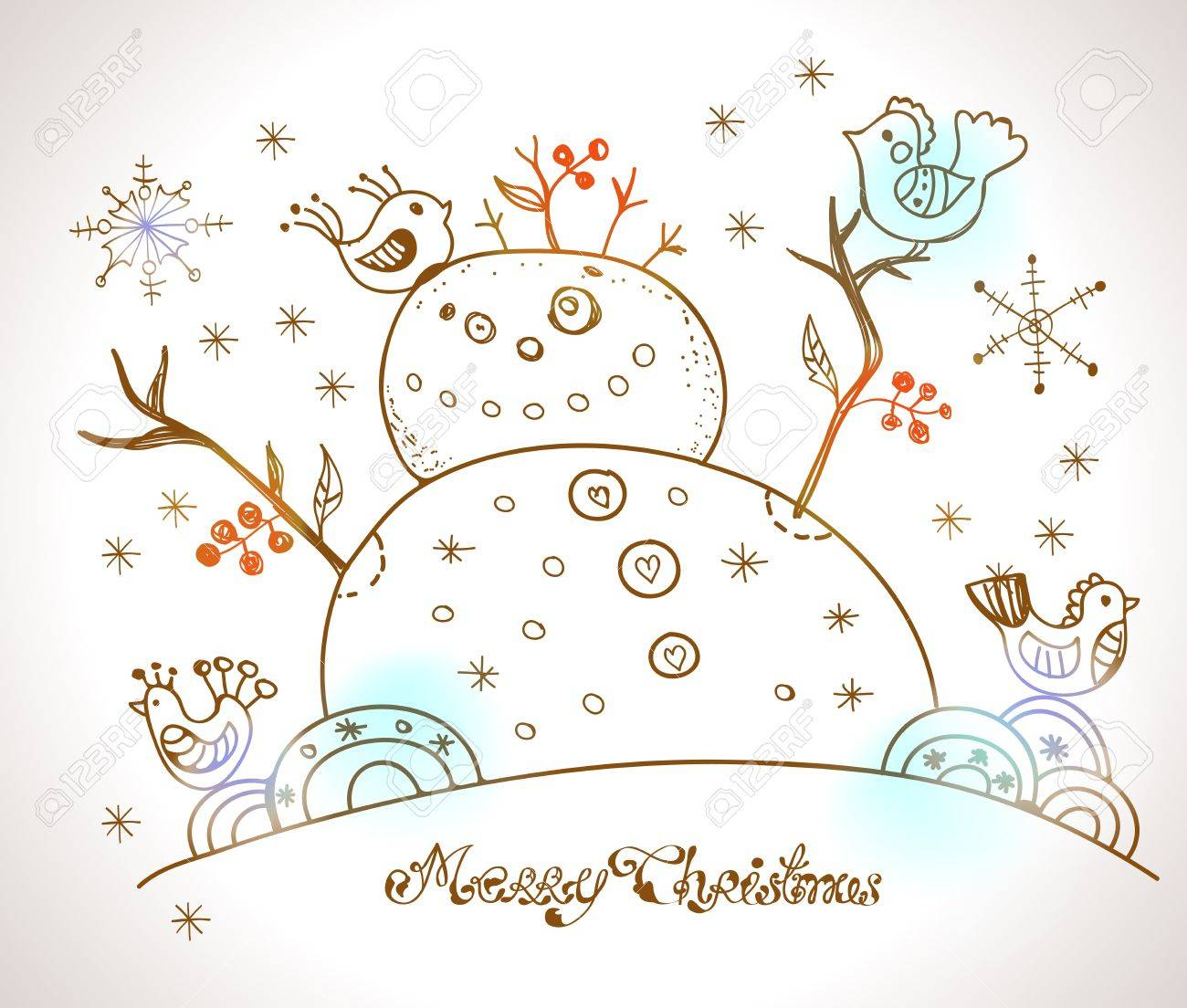 Christmas Card for xmas design with hand drawn snowman and birds Stock Vector - 20361536