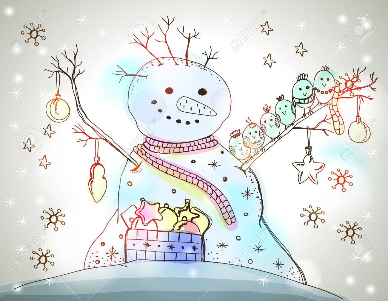 Christmas Card for xmas design with birds, gift and hand drawn snowman Stock Vector - 20361538