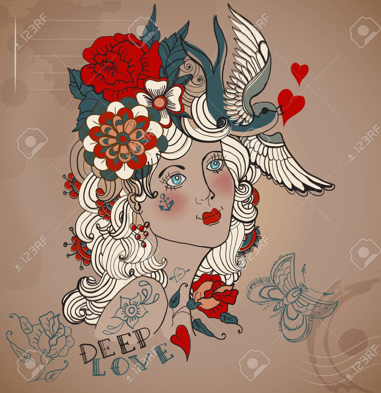 Old,school femme de tatouage de style avec des fleurs, Vintage Valentine  illustration Banque