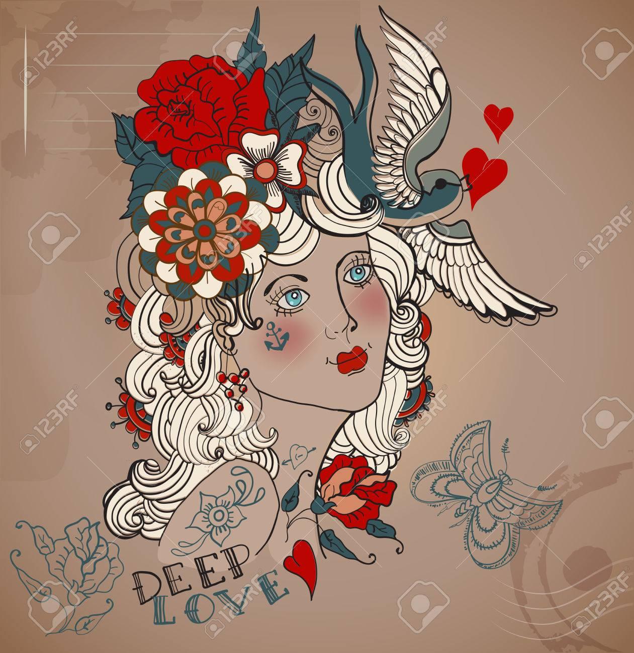 La Vieja Escuela Mujer Tatuaje Labrado Con Flores San Valentin Del