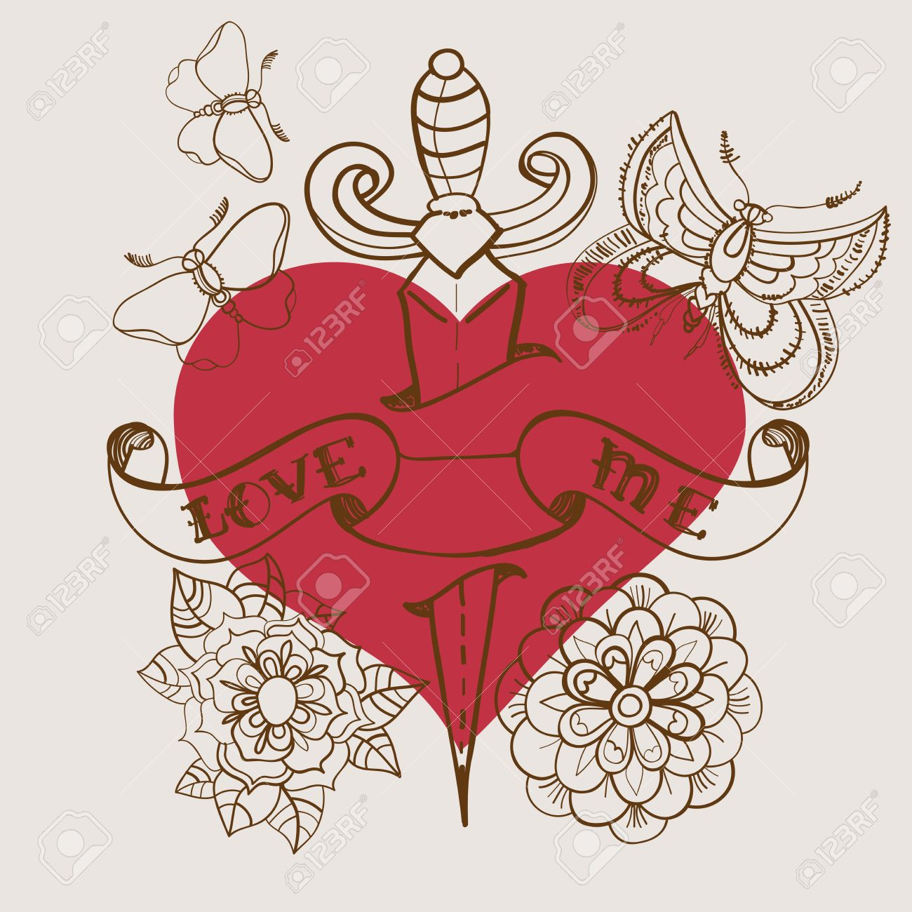 Old School Style Tattoo Heart With Flowers And Dagger, Valentine  Illustration For Holiday Design