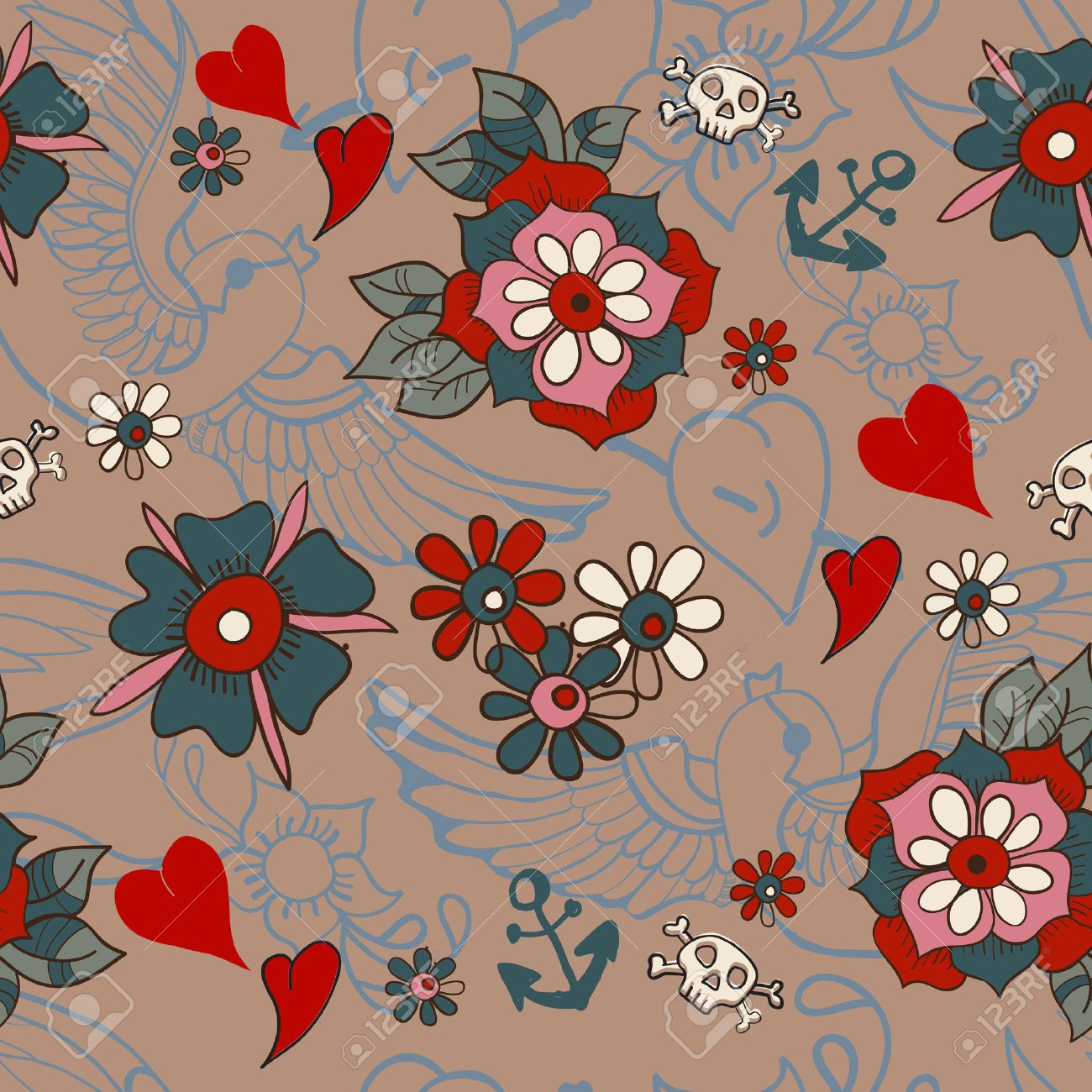 Seamless Vintage Pattern With Flowers For Valentine Design, Old School  Tattoo Style Stock Vector