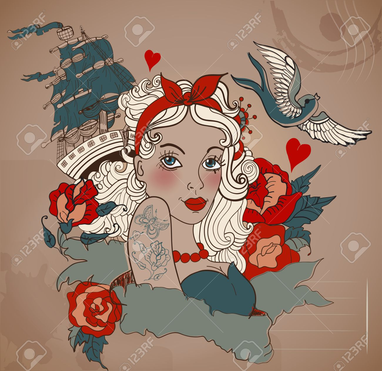 Old School Styled Tattoo Woman With Bird And Ship, Valentine Illustration  For Holiday Design