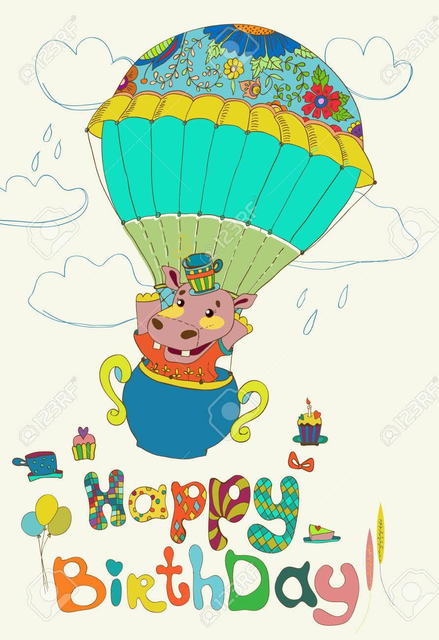 Joyeux Anniversaire Sur Fond Colore Hippopotame Drole Texte Gateau