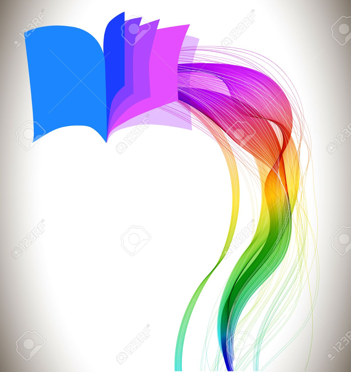 abstract colorful background book icon and wave education design