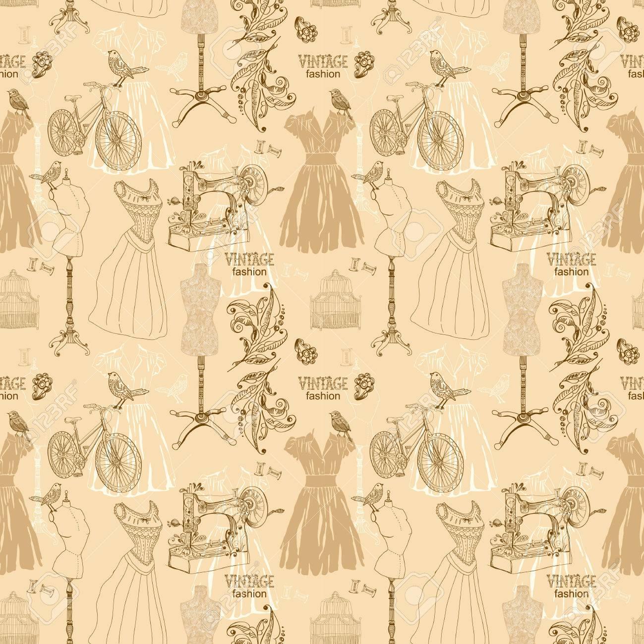 Jahrgang Nahtlose Muster - Mode Und Nähen, Illustration Lizenzfreie ...