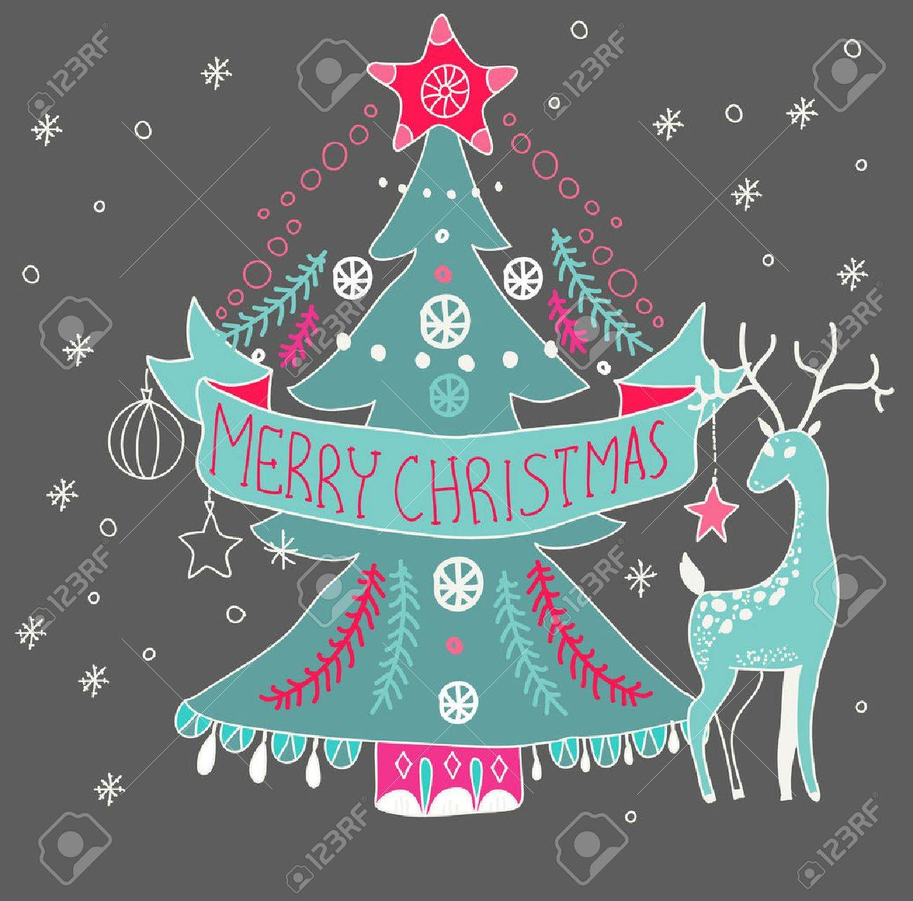 Christmas Background With Cute Decorations And Christmas Tree
