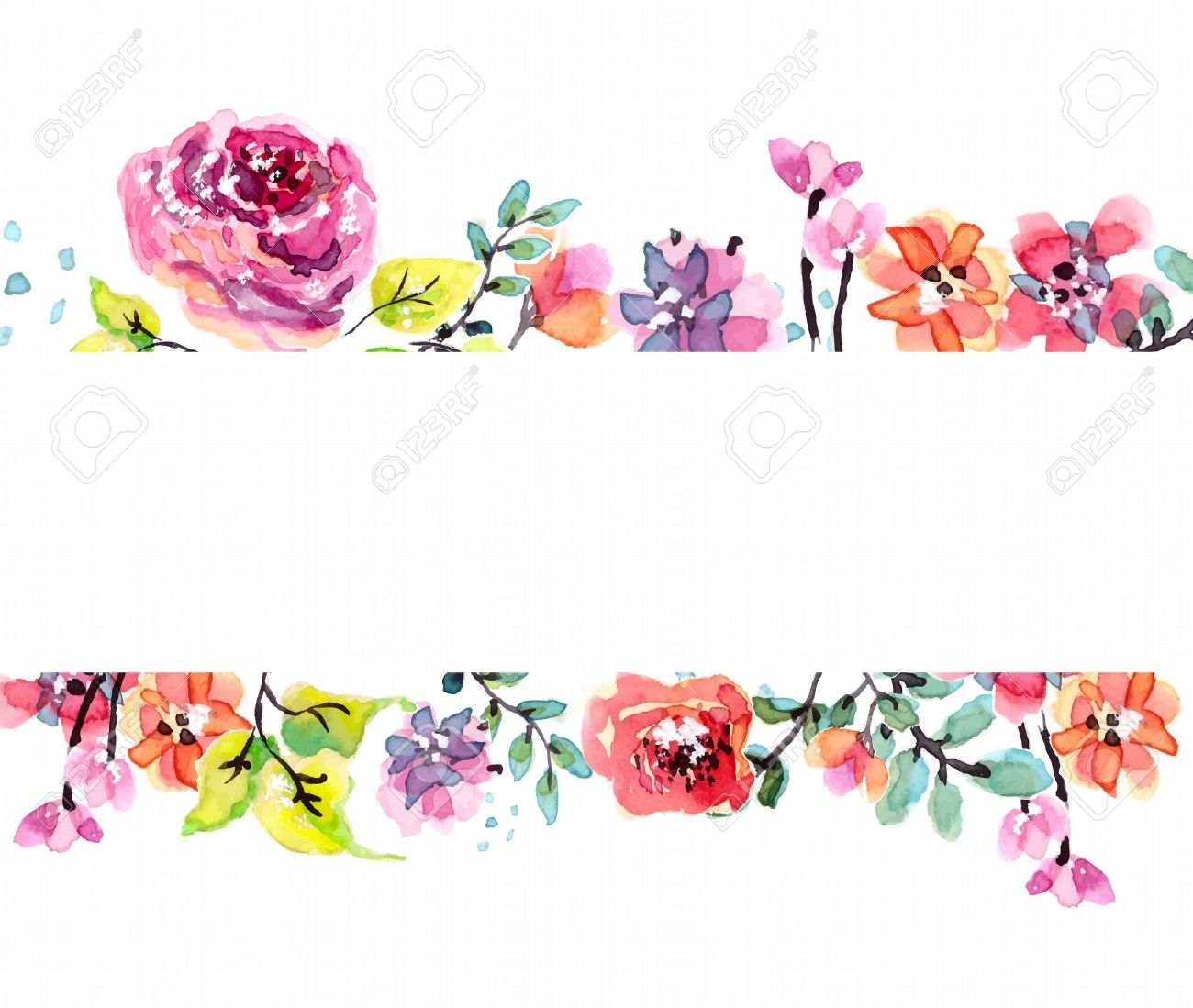 Watercolor Floral Frame Beautiful Natural Illustration Royalty Free