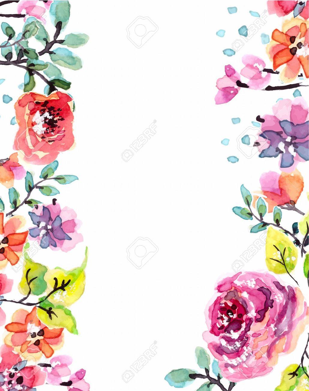 水彩画の花のフレーム、美しい自然のイラスト ロイヤリティフリー