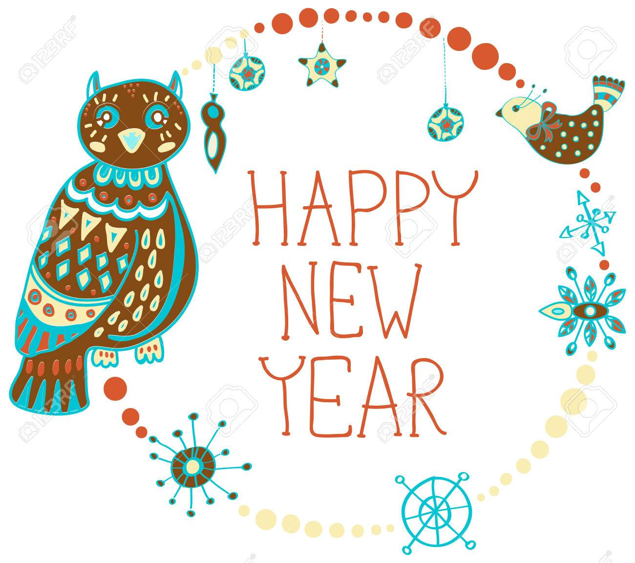 new year background with cute decorations and funny owls stock vector 32999812
