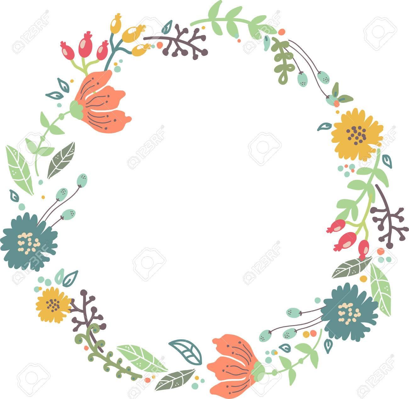 保存日付イラストの結婚式招待状デザインの色花のフレームのイラスト素材