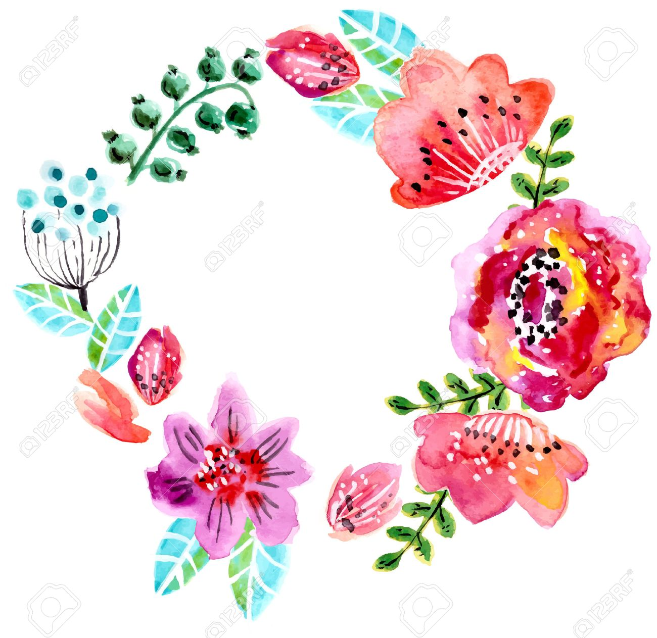 Marco De La Acuarela Floral Para La Invitación De Boda, Ahorre La ...
