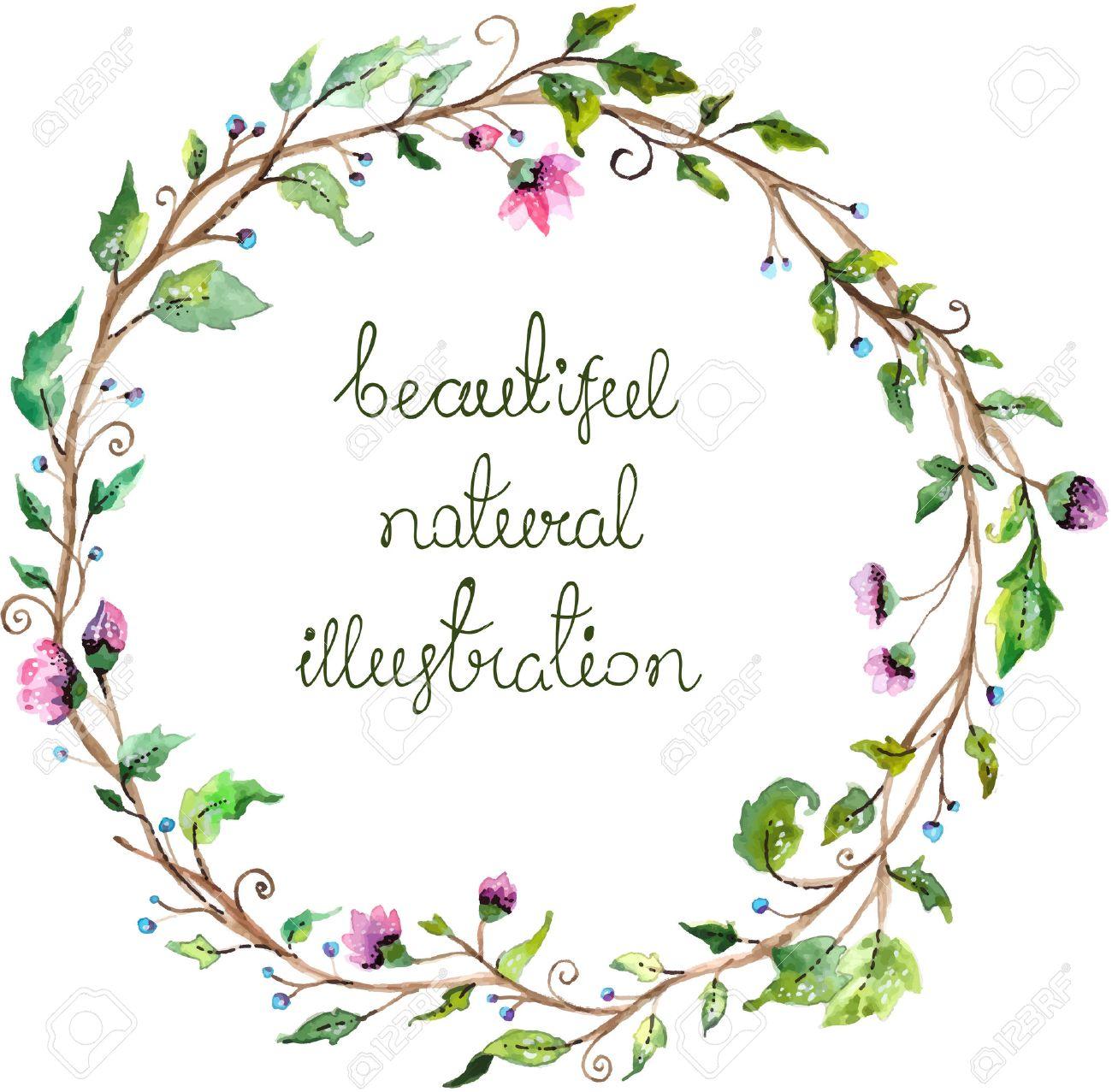 Marco De La Acuarela Floral Para El Diseño De La Invitación De La ...