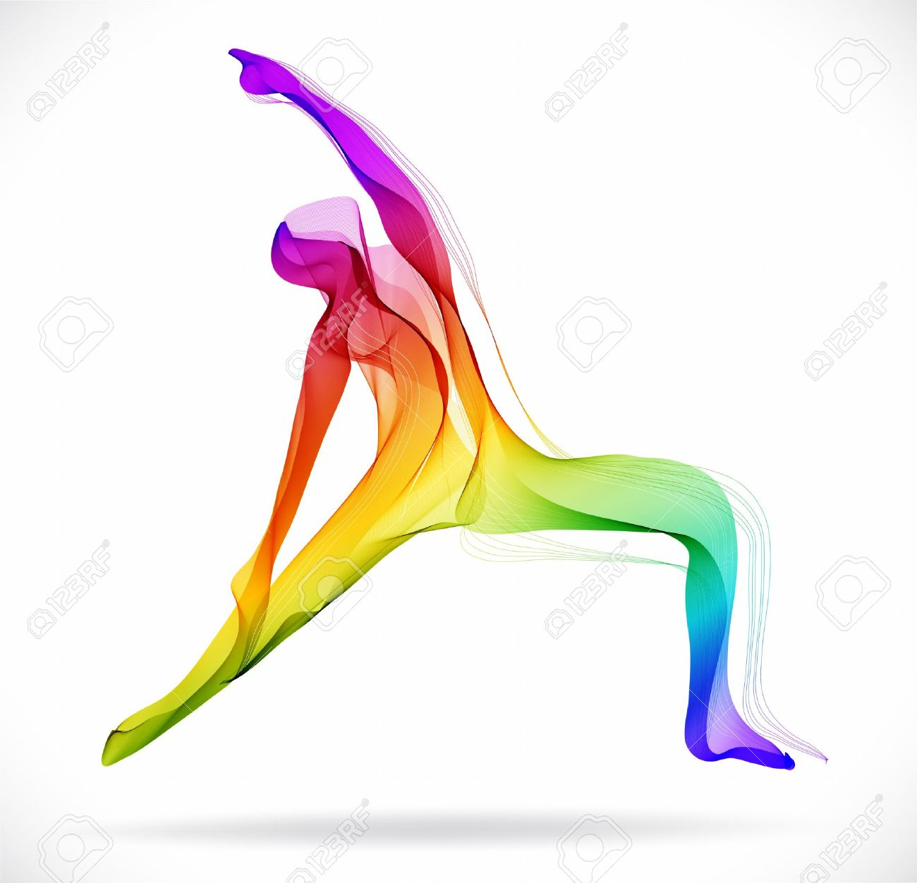 Yoga pose, Abstract color illustration over white background - 34141939