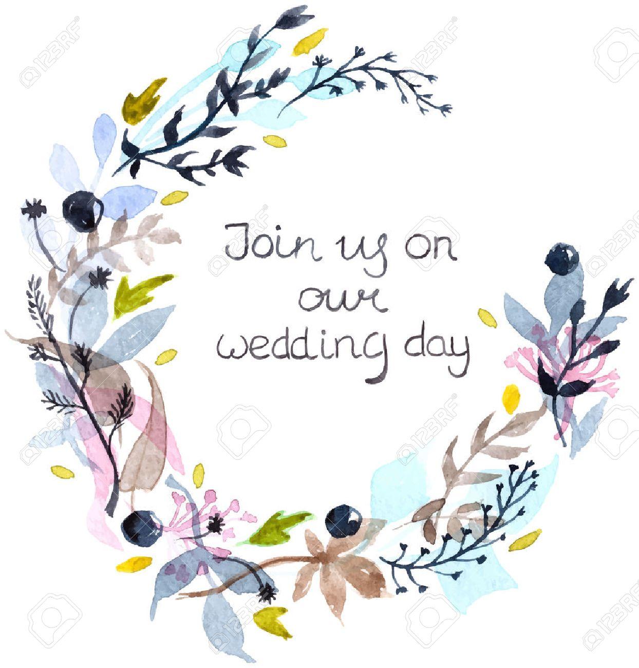 水彩画の花のフレーム結婚式招待状のテキストでカラフルな自然な
