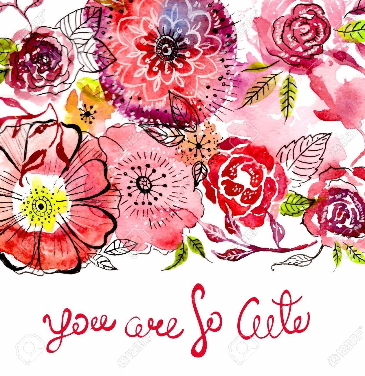 Watercolor Flower Card For Wedding Invitation, Save The Date.. Stock ...