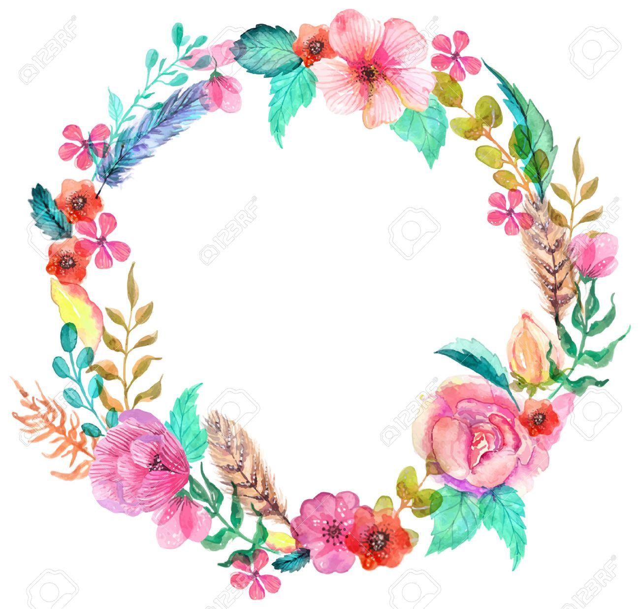 Banque dimages , Fleur aquarelle couronne pour beau design