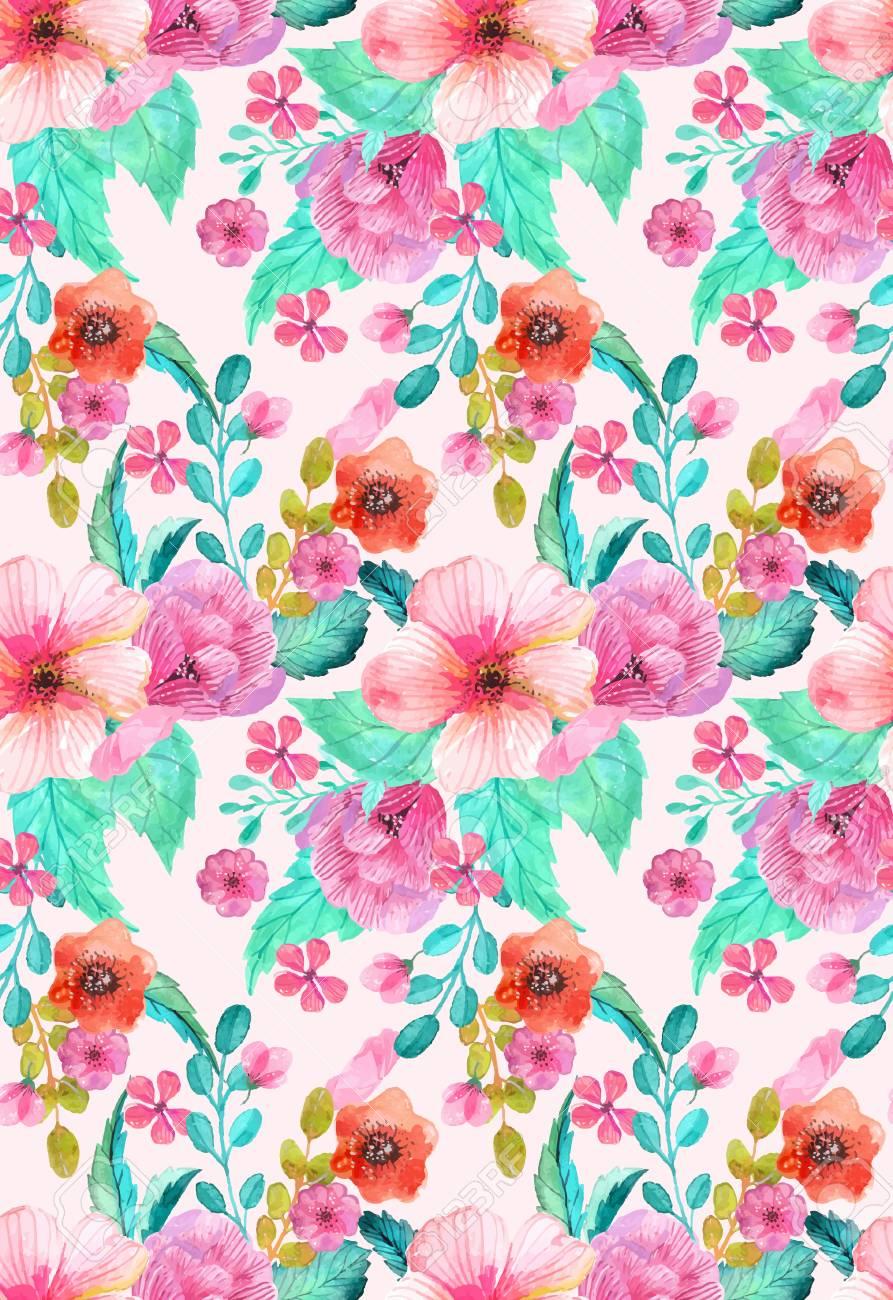 Floral Natürliche Aquarell Nahtlose Darstellung MusterBunte