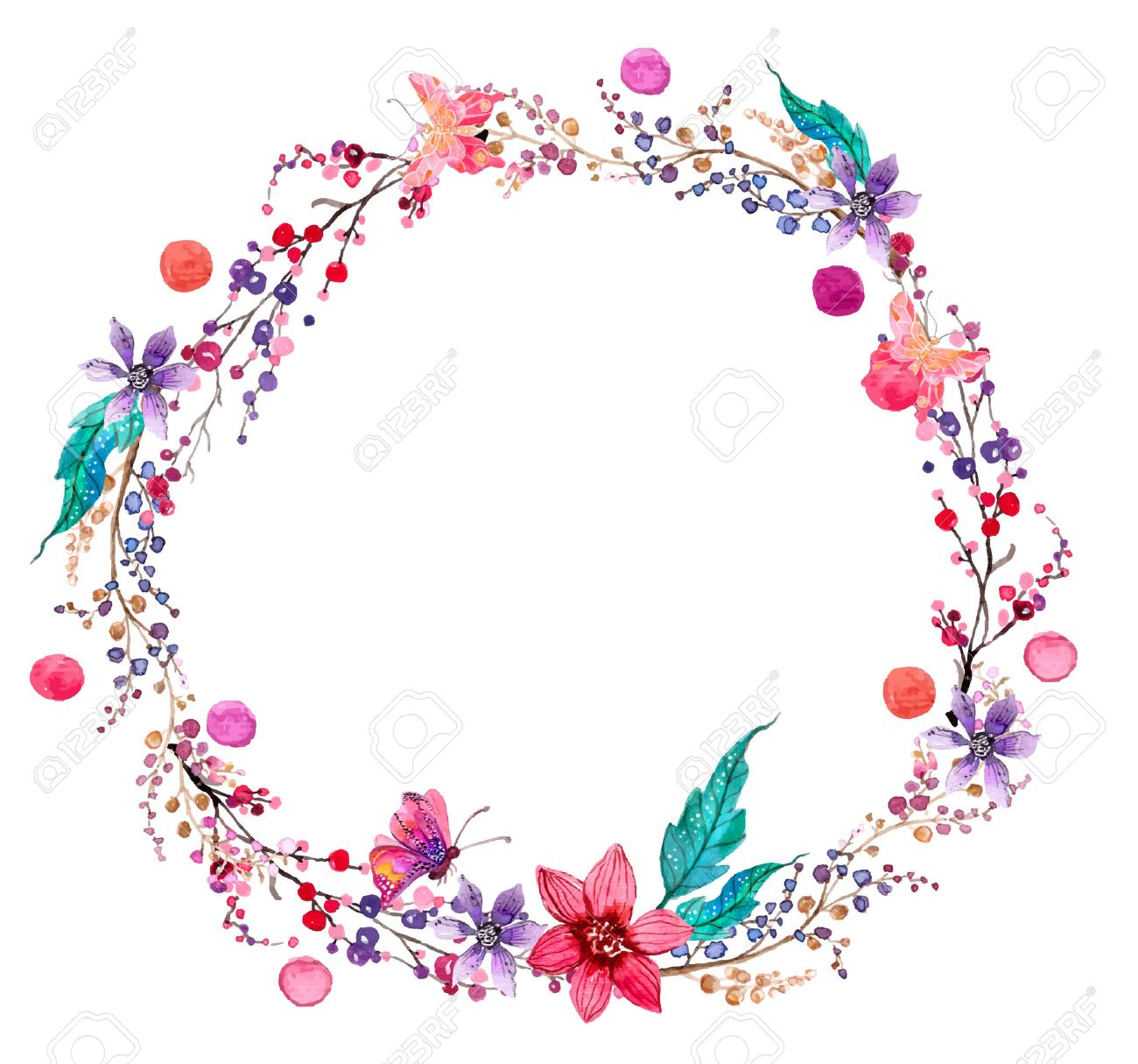 Interior Beautiful Design watercolor flower wreath background for beautiful design royalty stock vector 38960961