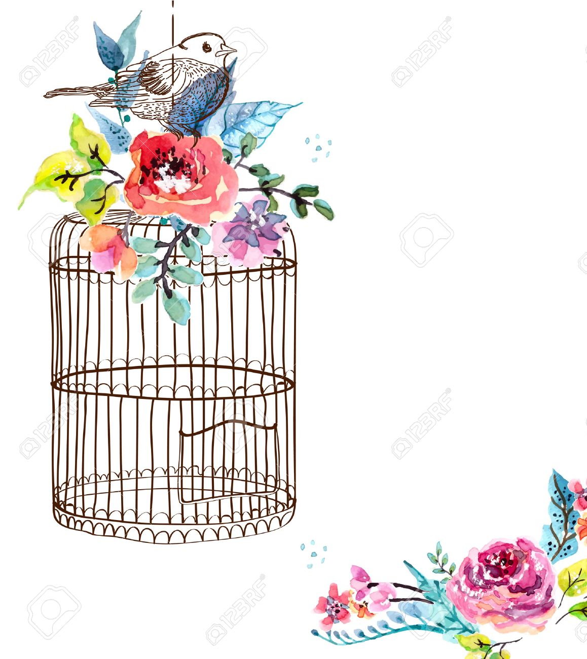 watercolor flowers and bird cage for happy birthday design or