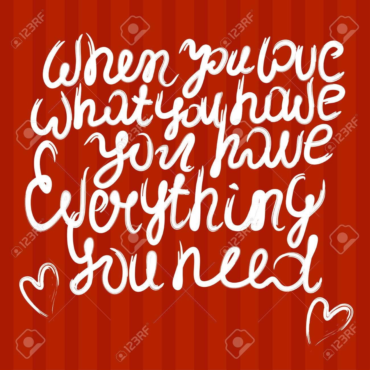 Valentine Quote Background. Love Quote. Valentine Day Design, Hand Drawn Love  Quote,