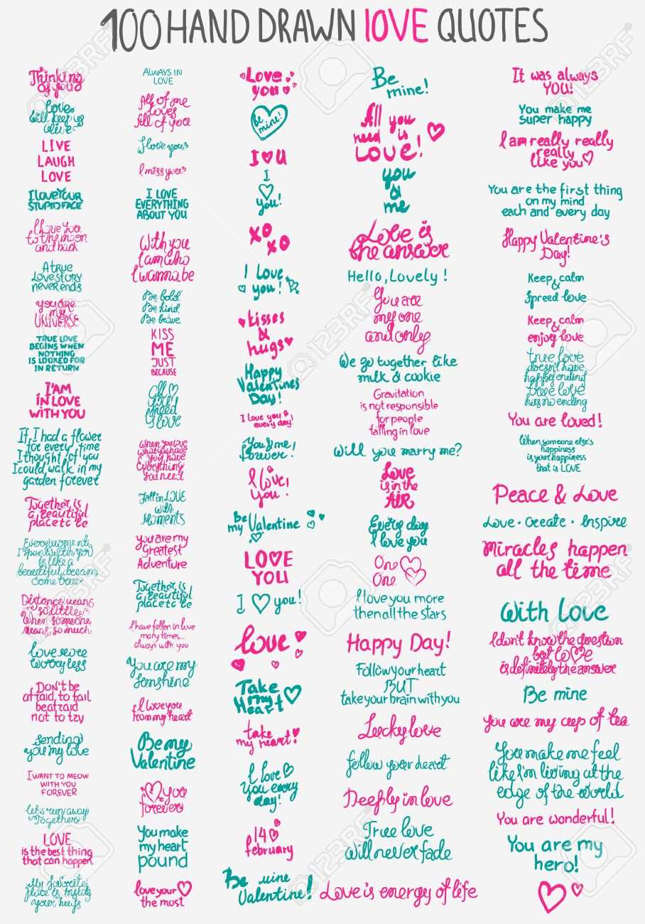 Big Collection Of 100 Handdrawn Love Quotes For Valentines Day