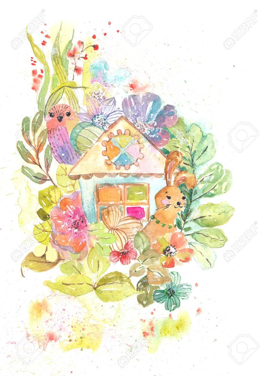 かわいい家鳥ウサギたくさんの花家の甘い家のイラストを水彩画の