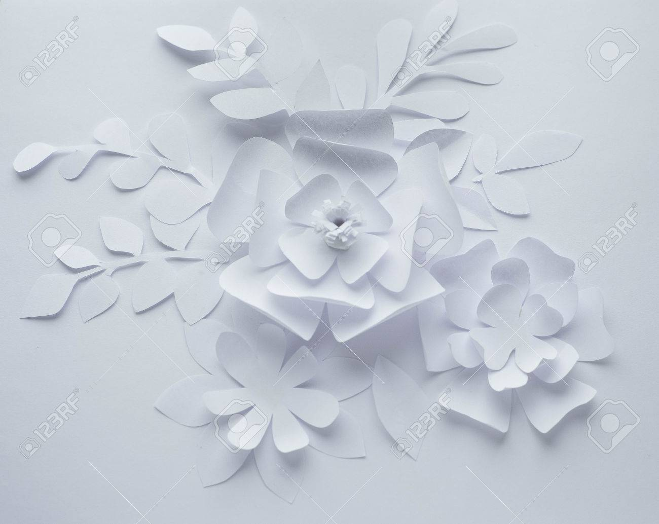 Paper Flower On White Background Paper Craft Flowers Paper Stock